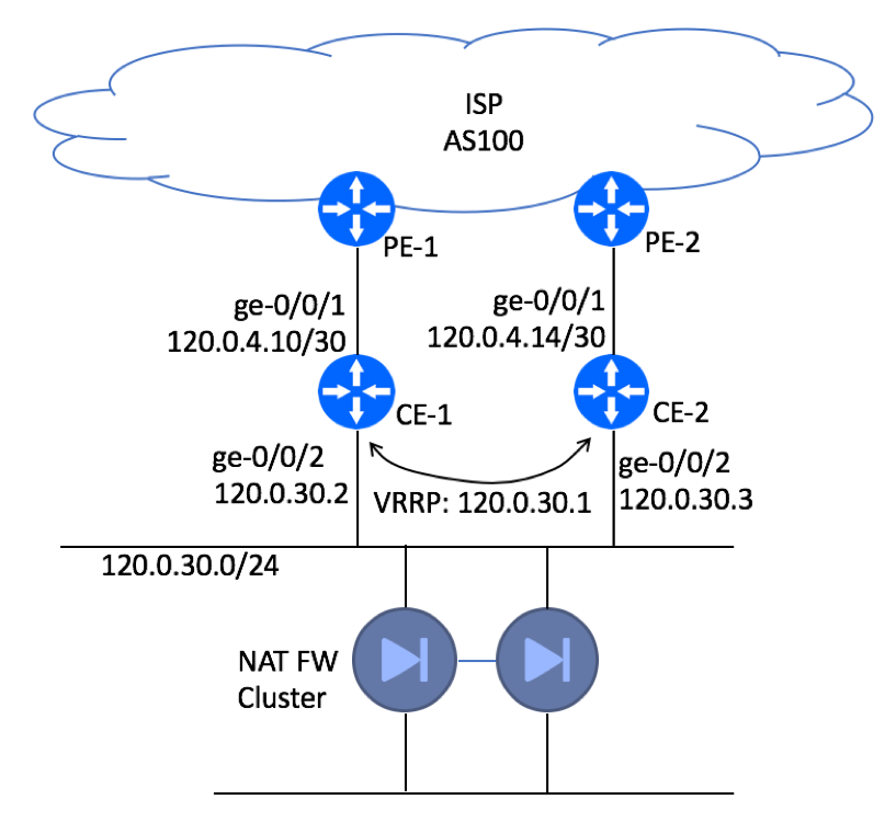 BGP HA Customer Site - Dual CE - Physical Topology